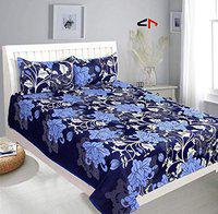 JK Handloom 3D Glace Cotton Bedsheet for Double Bed with Two Pillow Covers (Multicolour) (Cotton) (90x90)