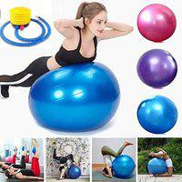 LET'S PLAY LP-1721 Imported Anti Burst 65 cm & 75 cm Gym Fitness Aerobic Yoga Ball/Gym Ball/Exercise Ball/Swiss Ball/Slimming Exercise Ball with Foot Pump (Multi-Colour)