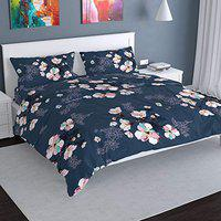 Florida 130GSM Poly Cotton Floral Double Bed Sheet with 2 Pillow Covers (Blue, 235x255CM)