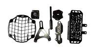 AutoTrends RE Himalayan Combo6 Accessories Head Light Grill, Rear Break Fluid Cap, Master Cylinder Guard , Oil Cooler , Side Stand Foot Enlarger, Sparco Antena (Black)
