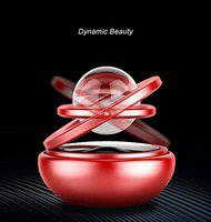 Automaze Car Metal Solar Rotating Air Freshener Perfume with Crystal Ball (Red)
