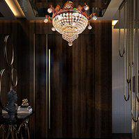 Weldecor Beautiful Imported Crystal Chandelier Jhoomer Ceiling Hanging Lamp for Beautiful Home & Office
