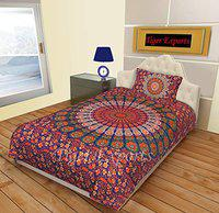 TIGER EXPORTS Cotton Mandala Bedsheet Single Bed with 2 Pillow Cover (Purple)