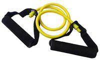 VIRTUAL WORLD Pull Gym Rope Stretching Band Rubber Exerciser Toning Resistance Tube Latex with D Foam Handles Sports Equipment for Exercise Home(120cm), Random Color