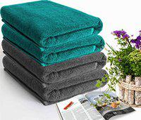 Roseate Super Soft 100% Cotton (550 GSM/ 70x140 cm) Large Bath Towel Anti Becterial/ Super Absorbent (Peacock & Grey) Pack of 4
