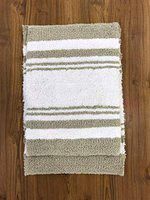 Home Story Home Feelsoft Washroom Kitchen Bath Mat Rug | Absorbent 100% Cotton Reversible 1600 GSM (Pack of 2 ( Grey-White ), 17 x 24)
