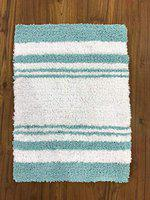 Home Story Home Feelsoft Washroom Kitchen Bath Mat Rug | Absorbent 100% Cotton Reversible 1600 GSM (Pack of 1 ( Aqua-White ), 17 x 24)