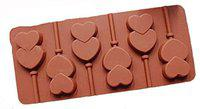 7horse Silicone Chocolate Lollipop Fondant Mould Baking Tool Silicone Garnishing Mould for Chocolate 6 Cavity Chocolate Shape