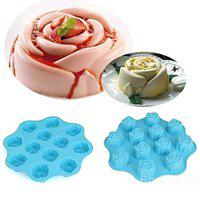 7horse 12 Cavity Silicone Rose Cake Jelly Pan Mold Pudding Muffin Handmade Soap Molds Mould