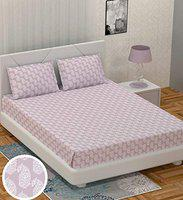 BS Exports Premium Cotton Sateen 210 TC King Size Bedsheet with 2 Pillow Covers (Coral Pink,100x108)
