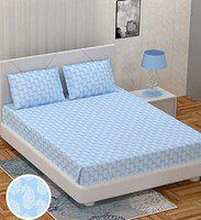 BS Exports Premium Cotton Sateen 210 TC King Size Bedsheet with 2 Pillow Covers (Frosty Blue,100x108)