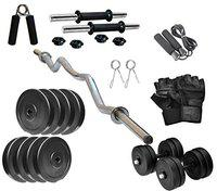 RV 14KG Home Gym Combo, Gym Equipments with PVC Dumbbell Plates, 3Ft Curl Rod and Accessories (Weight 2.5KGx4,2KGX2=14KG)