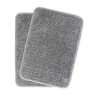 HOKIPO Microfiber Bath Mats for Home Pack of 2, 40X60cm, Solid Grey (IN-108-GRY*2)