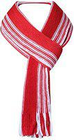 Youngmonk Unisex Stripped Woolen Red and white Muffler