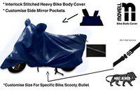 Movell Trend Water and Heat Resistant Bike Cover (Solid Blue) with Side Mirror Pocket, Accurate Fitting Compatible with Multistrada
