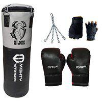 Byson Synthetic Leather Rough and Tough Boxing Kit Set for Men and Adult (3 feet Punching Bag,12ozBoxingGloves, Hand Wrap, Chain) HeavyBag for Boxing,Kick Boxing, Karate, Exercise and Fitness