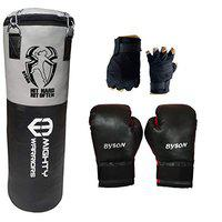 Byson Synthetic Leather Rough and Tough Boxing Kit Set for Junior and Beginners (3 feet Punching Bag,12oz Boxing Gloves, Hand Wrap) Heavy Bag for Boxing,Kick Boxing, Karate, Exercise and Fitness