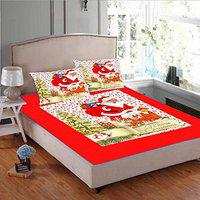JARS Collections 200TC Digital Print Red Velvet Christmas Bedsheet for Double Bed with 2 Pillow Covers