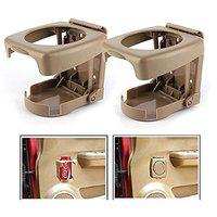 Oshotto Folable Multifunctional Bottle/Cup/Glass/Drink Holder Compatible with Audi Q5 (Beige) - 2 Piece