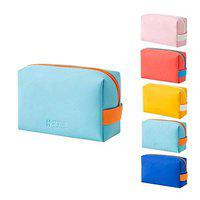 SMERA Candy Color Mini Toiletry Bag, PU Cosmetic Bag Portable Waterproof Ladies Cute Cosmetic Bag Candy Color Storage Octagonal Bag (Light Blue)