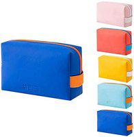 SMERA Candy Color Mini Toiletry Bag, PU Cosmetic Bag Portable Waterproof Ladies Cute Cosmetic Bag Candy Color Storage Octagonal Bag (Blue)