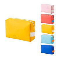 SMERA Candy Color Mini Toiletry Bag, PU Cosmetic Bag Portable Waterproof Ladies Cute Cosmetic Bag Candy Color Storage Octagonal Bag (Yellow)