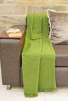 R Home Reversible Cotton Washed Classic Throw Blanket, 51 x 71 Inch, Green