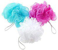 Wellskin luxury Bathing Round Body bath loofah men and women (PACK OF 2) (SKY AND WHITE)