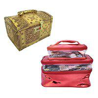 N A PURSE Pack of 2 Women Vanity Box Jewellery Box Cosmetic case for Girls Ladies Toiletry Bag (Gold and red)