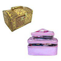 N A PURSE Pack of 2 Women Vanity Box Jewellery Box Cosmetic case for Girls Ladies Toiletry Bag (Gold and Pink)
