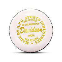 APG Men Hand Stitched Davidson White Leather Cricket Ball Weight 5.5oz - (Pack of 1 Ball) Made in India