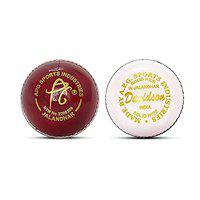 APG Davidson Combo Leather Cricket Ball, 4 Piece Construction,1 White Leather Cricket Ball and 1 Red Leather Cricket Ball, Set of 2 Balls , Hand Stitched Weight 5.5oz (Made in India)