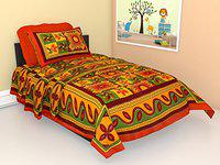 New Serene Dcor Jaipuri Cotton Single bedsheet with 1 Pillow Covers 63 x 90 inches (AE919, Multi)