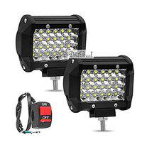 Dhe Best Bike 24 LED Fog Light Bar Spot Beam Off Road Driving Lamp (72W, White Light, Set of 2 with ON Off Switch) for Royal Enfield Himalayan