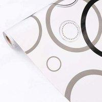 Blak & Grey Circles Elegant Look Self Adhesive Wallpaper 200 cm by 45 cm.