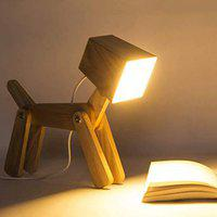 Royal Handicrafts Wooden Dog-Shaped lamp, for Computer and nightstand, for Bedroom and Office, Ideal for Children Study Lamp
