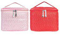 MPK PERFECT Multifunction Makeup Bag cum Cosmetic Storage Bag Perfect for Women and Girls - Pack of 2 (801)