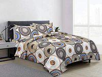 Friends Hub Glace Cotton Aloria Maharaja King Bedsheet with 2 Pillow Covers Mix Grey and Green Colour with Traditional Circle Design Super Quality Bedsheet Set (Size - 108x108 inches)