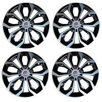 CARIZO Car Wheel Cover Caps (Black & Silver) 15 inches Press Type Fitting (Set of 4) for Chevrolet Tavera Neo