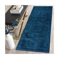 ABS Printed Modern Carpet (Blue, Polyester, 22 x 48 Inch)