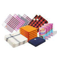 Selzer Combo Pack Of Multipurpose Kitchen Towel, Glass Cloth, Sponge Wipes, Micro Fiber Duster, Superior Waffle & Flannel Duster
