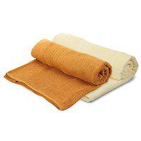 MAFATLAL Portugese Series, Pure Cotton Bath Towel (75 x 150 cms) Soft Finish Zero Twist King Size Bath Towel Pack of 2 (Mustard & Cream Yellow)