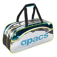 Apacs D-2531 Double Cover Badminton Kit-Bag with Shoe Compartment (Cyan/Silver)