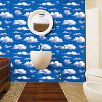WOW Interiors Leaf Peel and Stick Self Adhesive Wallpaper Easily Removable - Bedroom Living Room Sky Blue Eco Wallpaper (200CMX45CM)