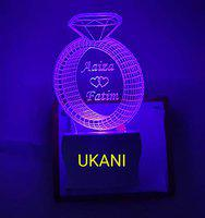 UKANI Acrylic Personalised 7 Colour Changing 3D Illusion LED Night Lamp ||Customized Couple Name and Tagline.Perfect Gift for Every Occasion (Multicolour).