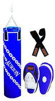Aurion Unfilled Heavy Punch Bag 3ft 4ft 5ft Boxing MMA Sparring Punching Training Kickboxing Muay Thai with Focus Pad & Boxing Hand Wrap Hanging Chain (Blue, 24-inch (2 Feet))