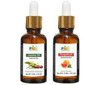 PMK Pure Natural Jojoba Oil and Grapefruit Oil For Hair Growth, Skin care (Each 15ML)