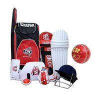 CW Rapid Right Handed Cricket Kit Set Red Without Bat Sports Training Match Practice Complete Accessories in Cricket Backpack Size 6 for 12-13 Years Old Boys & Youth Young Kids