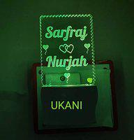UKANI 3d Customize Couple Name in Unique Design Latest Acrylic Colour Changing 3D Illusion LED Night Lamp for Bedroom (Multicolour) Design Night Lamp For Bedroom / Valentines Day / Birthday Gift ( Size 3 Inch) (Design 31)