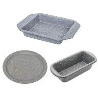 Femora Carbon Steel Stone Ware Non-Stick Coated Baking Big Loaf Pan, Pizza Pan and Baking Dish- Set of 3